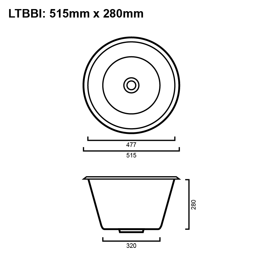 Stainless steel 36 litre round laundry trough line drawing