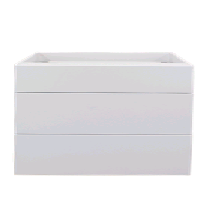 White gloss three drawer base cabinet unit 900mm