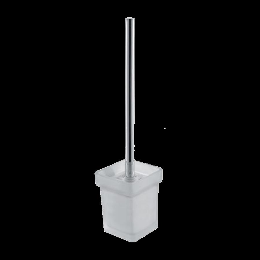 bathroom square toilet brush and holder chrome