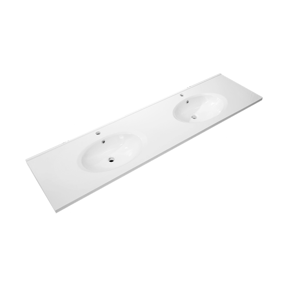 white polymarble round double bowl vanity top 1800mm