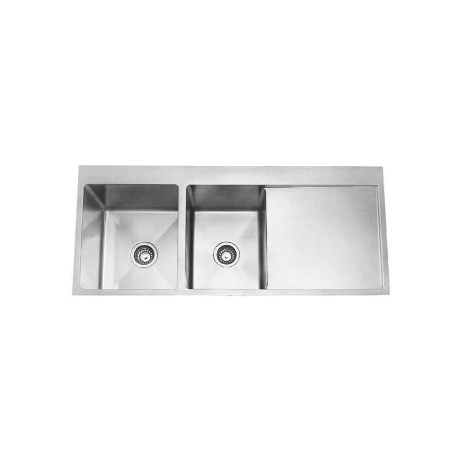 Stainless steel one and three quarter bowl brushed sink with drainer