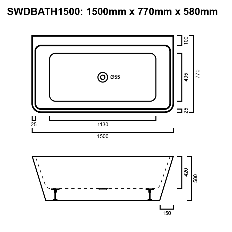 Square white free standing back to wall bath line drawing