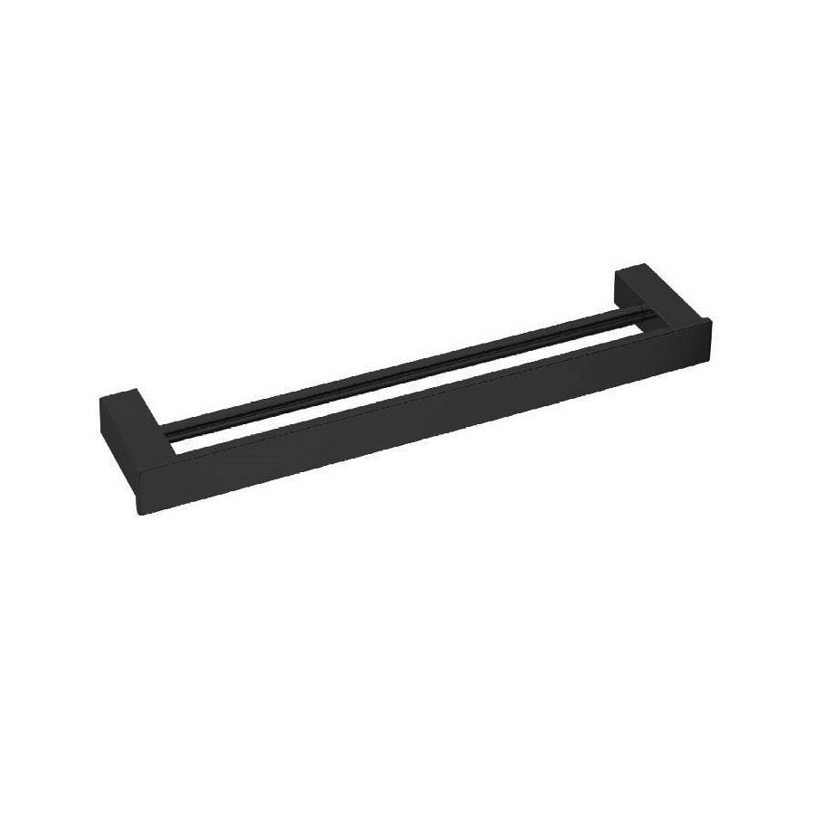 square black 800mm double towel rail