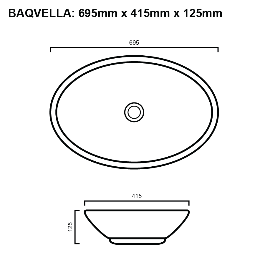 line drawing for oval above counter bathroom basin