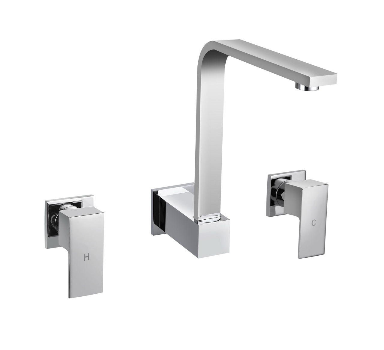 Chrome square wall taps with swivel spout