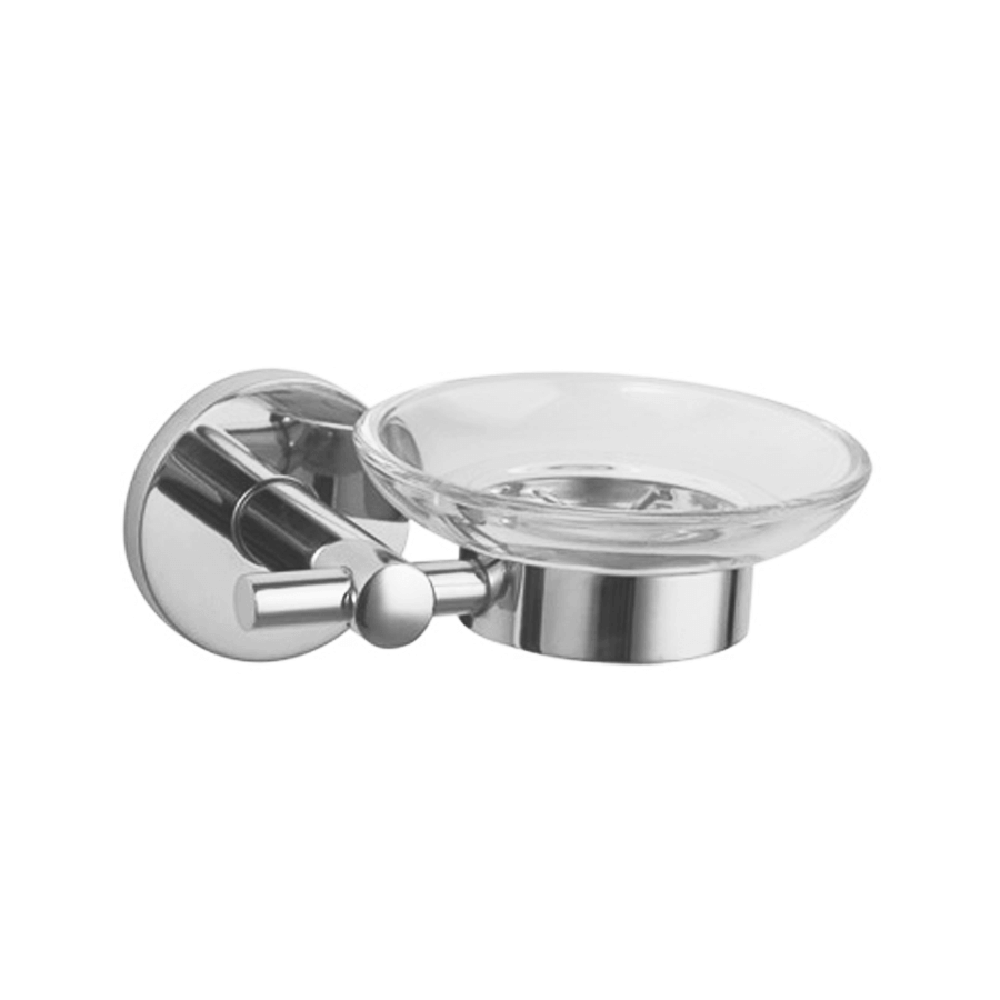 Round stainless steel soap holder glass dish