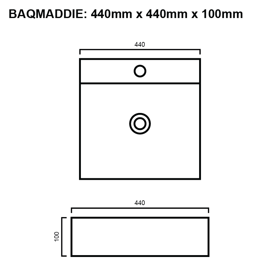 line drawing for square above counter bathroom basin