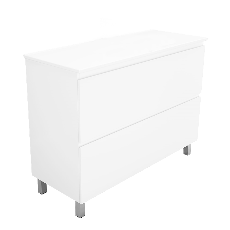 Two drawer no handle white 1000mm vanity