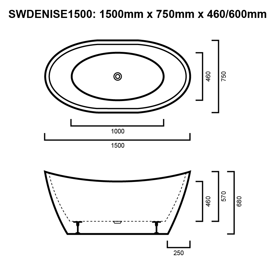 Curved white free standing bath line drawing