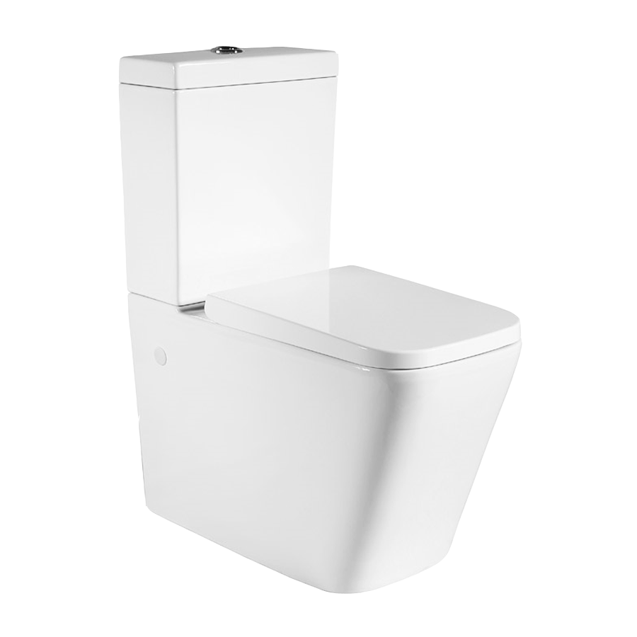 White back to wall ceramic toilet with hard plastic seat