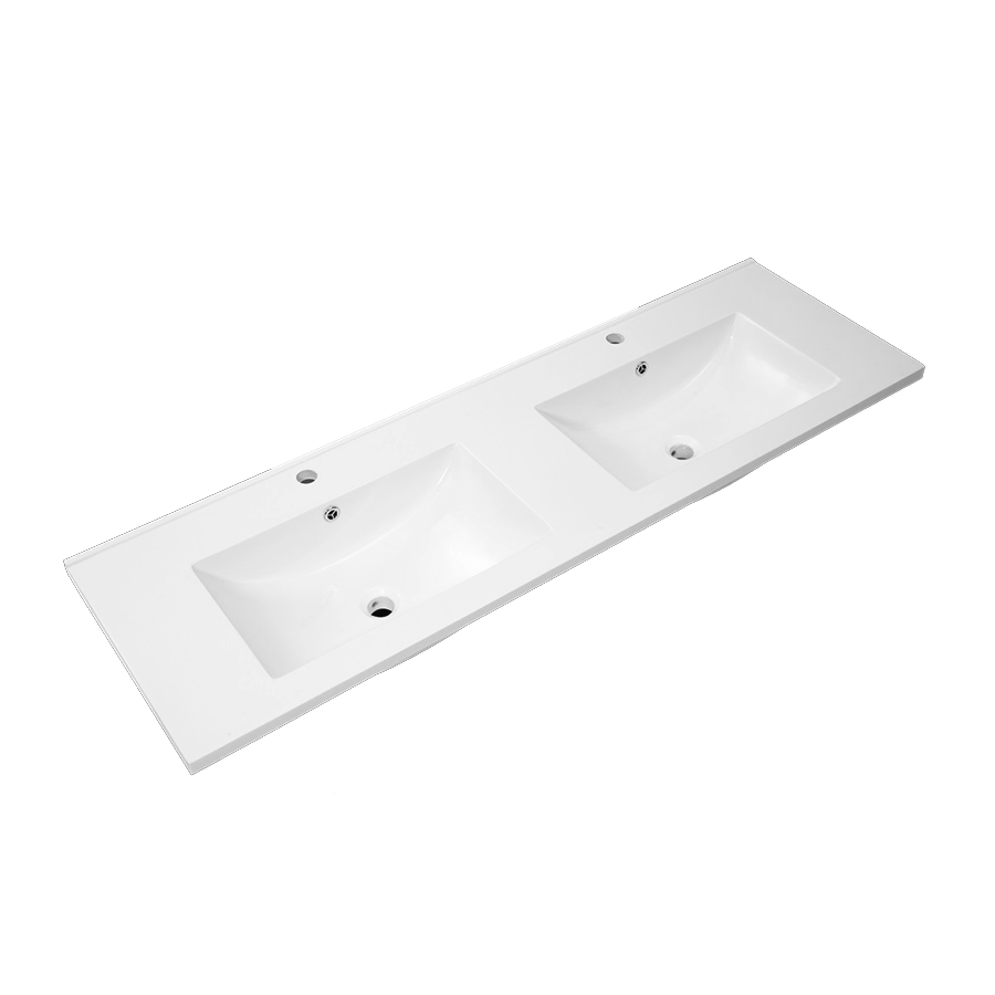white polymarble square double bowl vanity top 1500mm