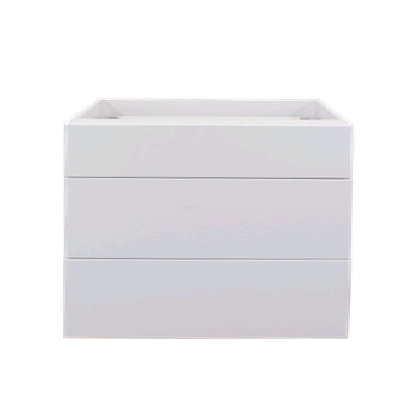 White gloss three drawer base cabinet unit 800mm
