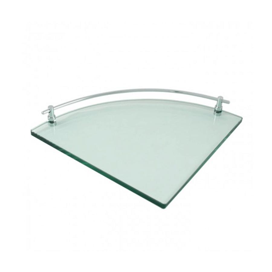 Wall mounted chrome corner glass shelf holder