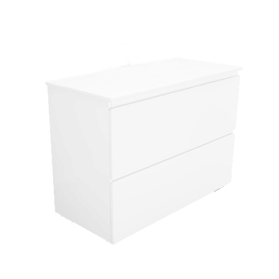 wall hung Two drawer no handle white 750mm vanity