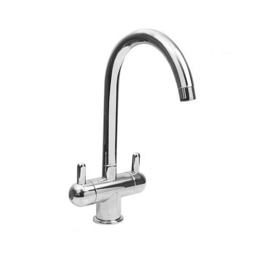 Chrome twin pin lever gooseneck sink mixer