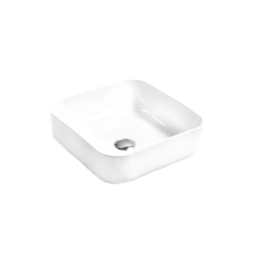 white ceramic square above counter bathroom basin