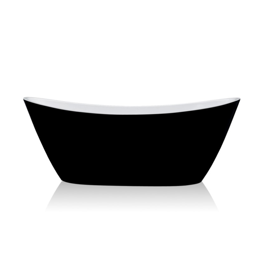 Curved black and white freestanding bath