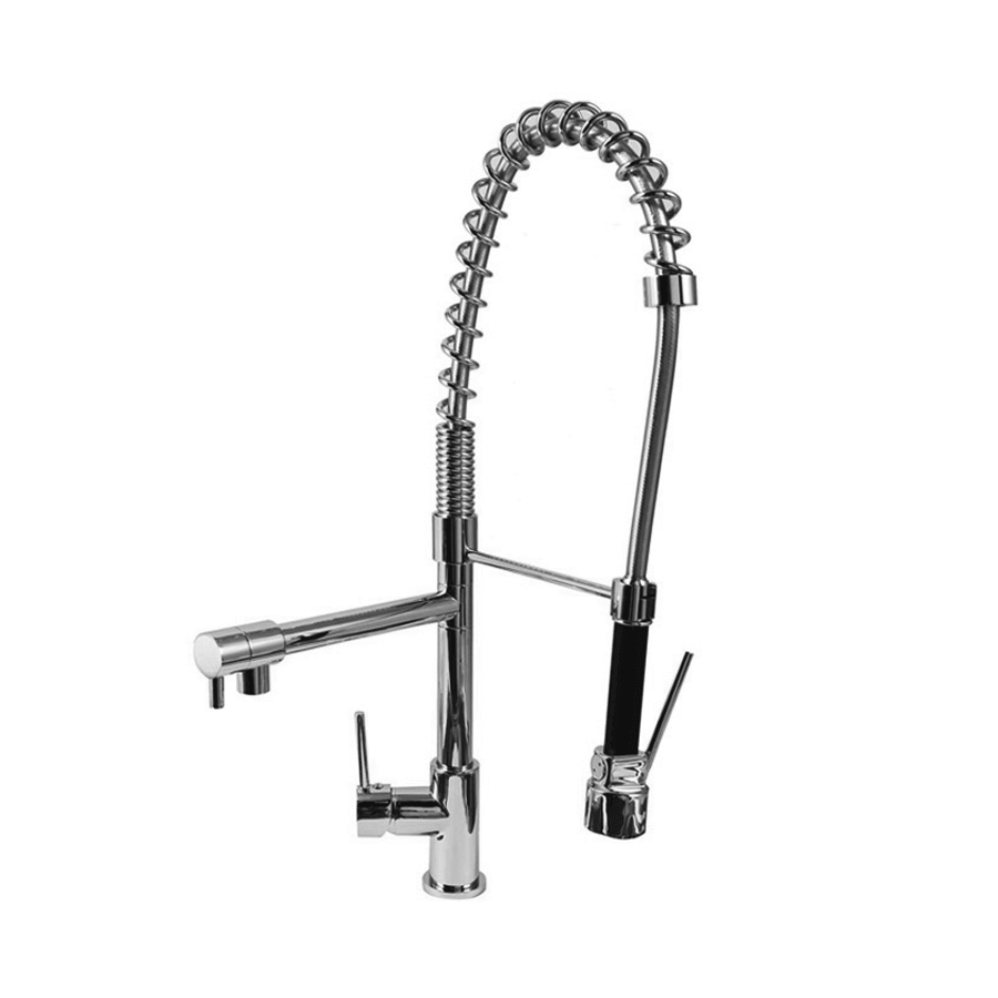 Chrome single pin lever handle sink mixer dual detachable veg spray spout