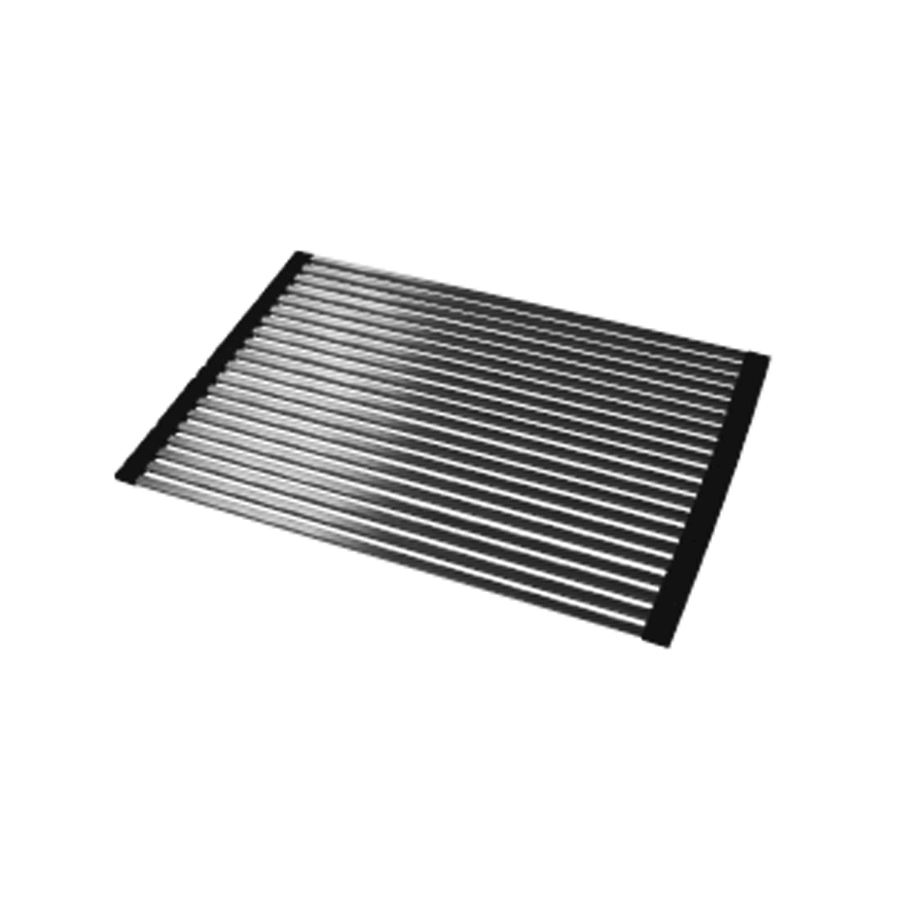 Stainless steel roll up mat with rubber ends