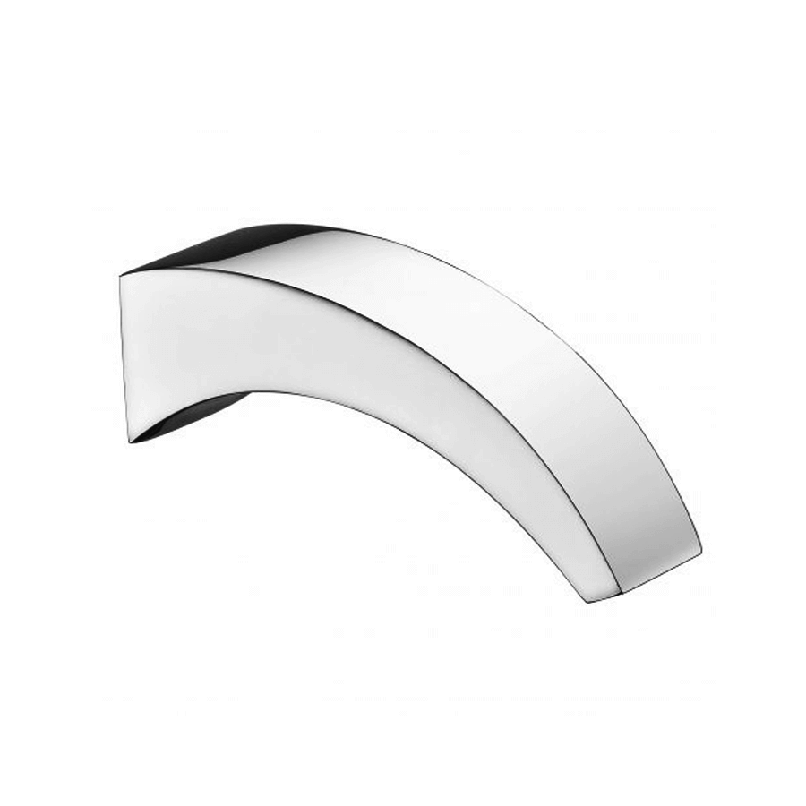 Square curved chrome fixed bath spout