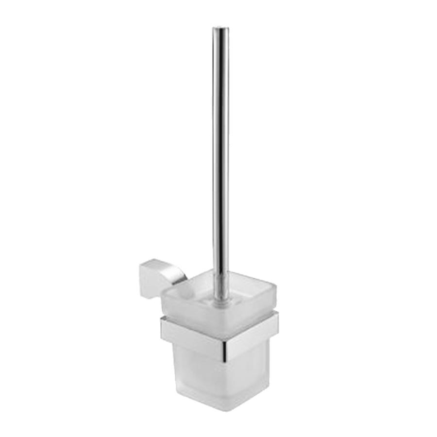 bathroom round toilet brush and holder chrome