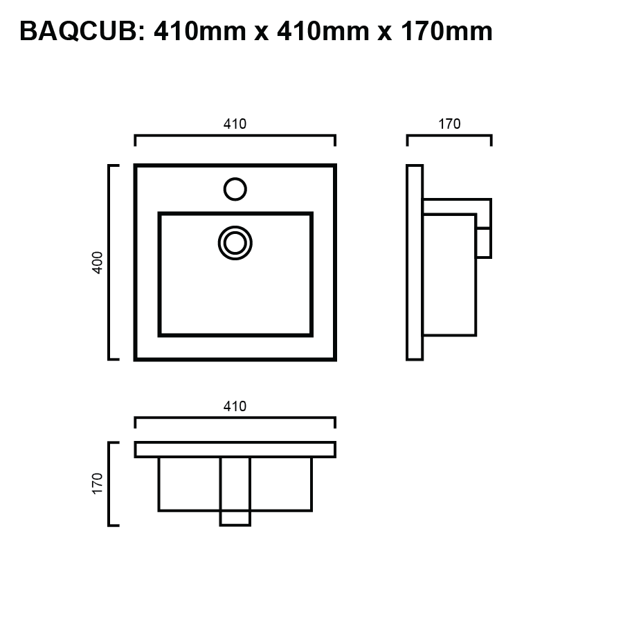 line drawing for square inset bathroom basin