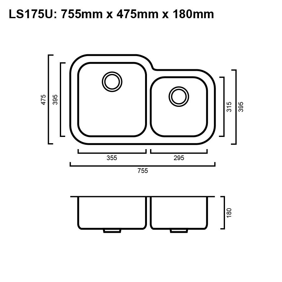 Stainless steel double bowl sink line drawing