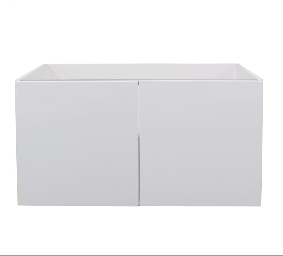 White gloss double door wall cabinet 900mm