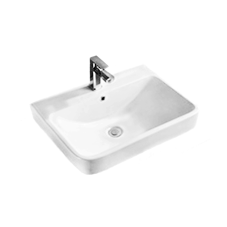 white ceramic square half inset bathroom basin