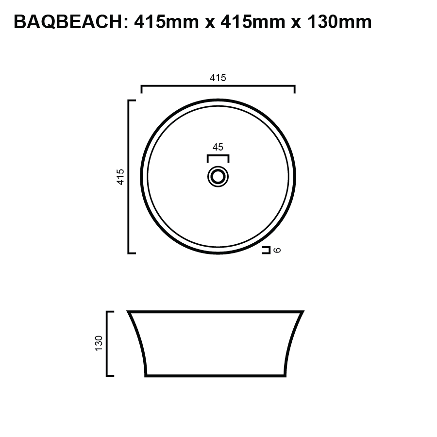 line drawing for round above counter bathroom basin