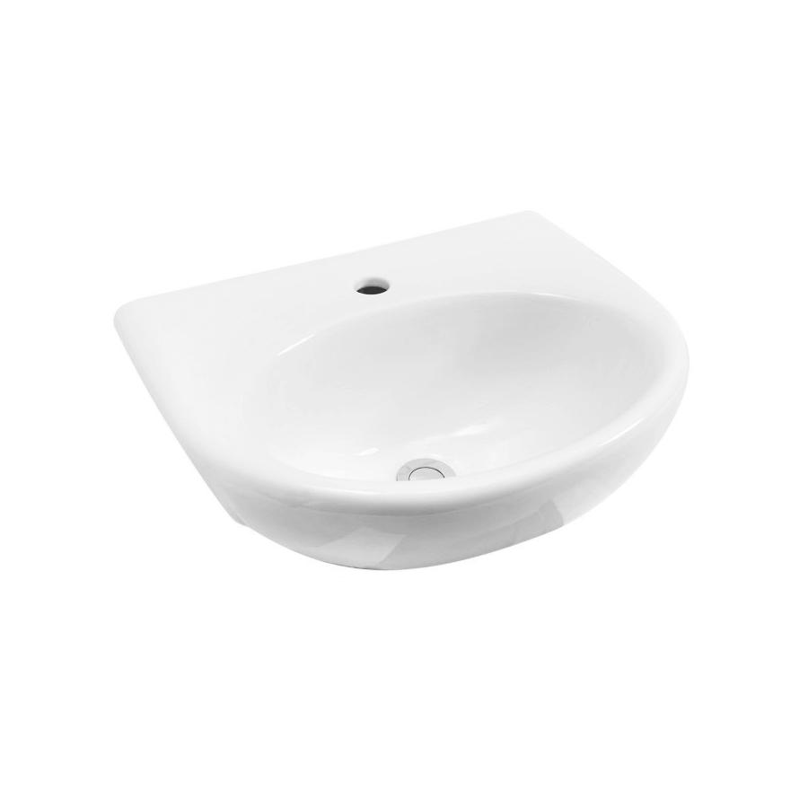 white ceramic round semi-recessed bathroom basin