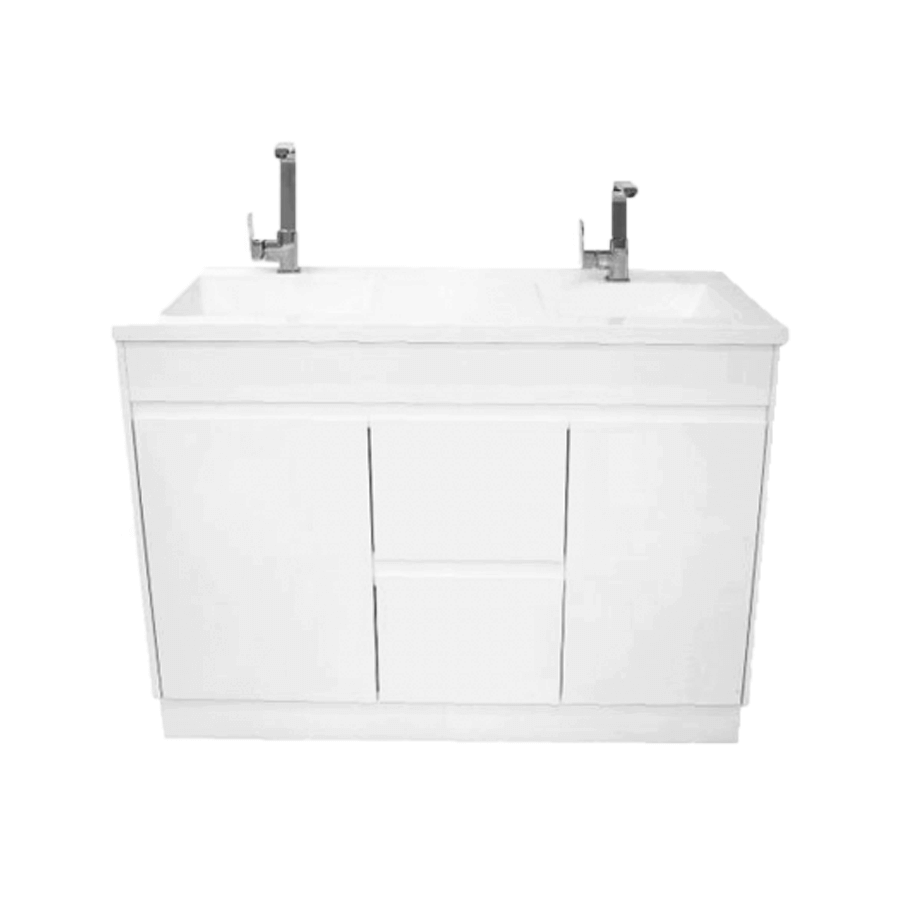Two door two drawer white 1200mm vanity with double bowl polymarble top