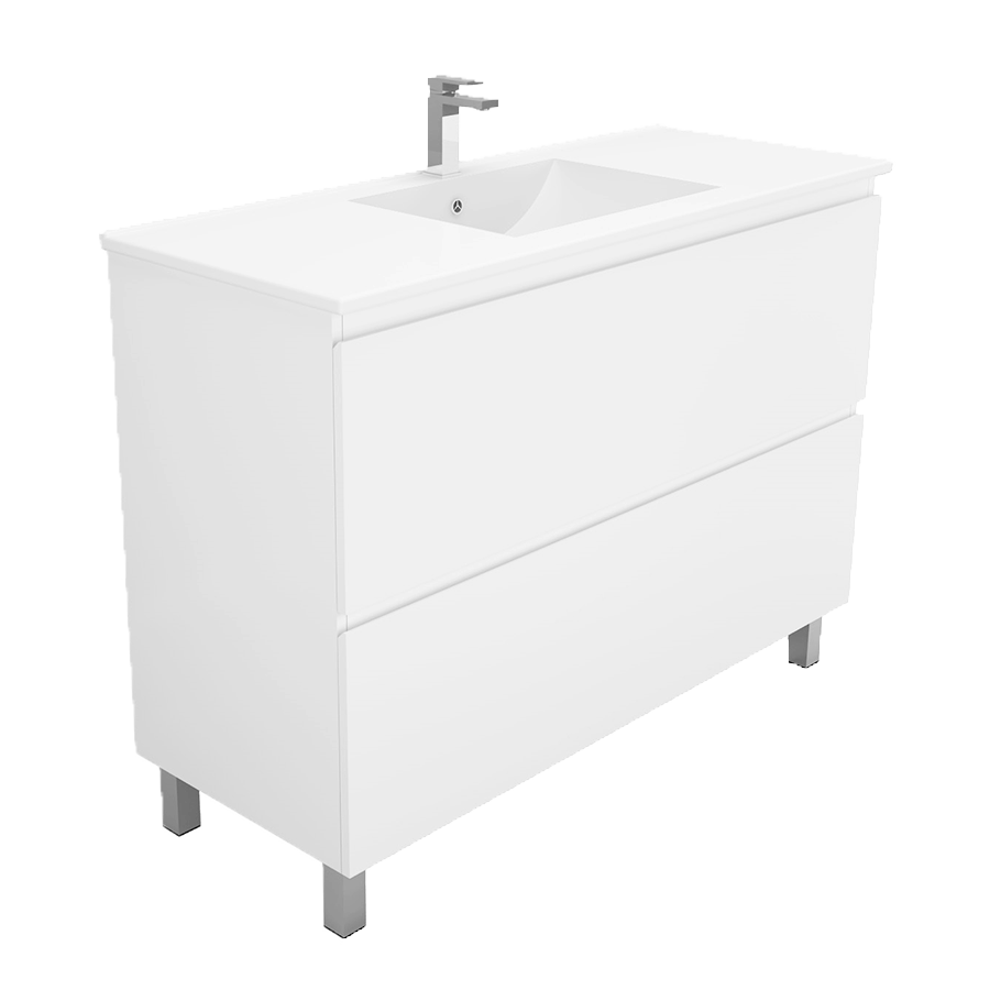 Two drawer no handle white 1000 vanity with ceramic top