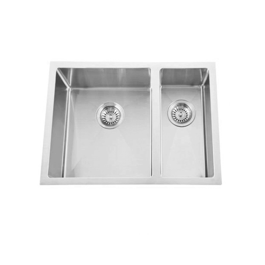 Stainless steel one and a half bowl brushed sink