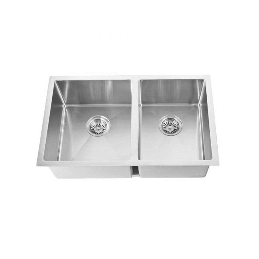 Stainless steel one and three quarter bowl brushed sink