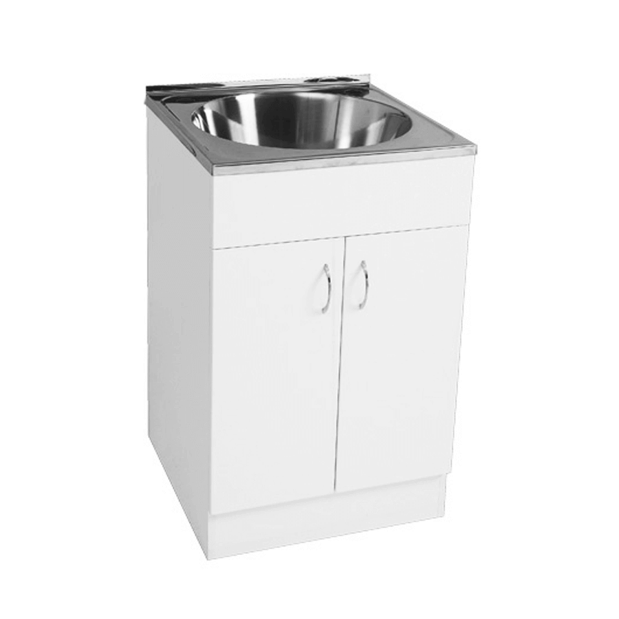 Stainless steel round 36 litre trough with white double door cabiner
