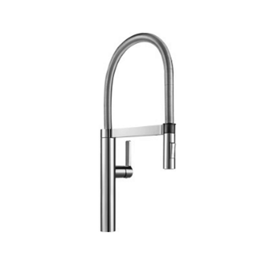 Chrome single pin lever gooseneck sink mixer detachable veg spray spout