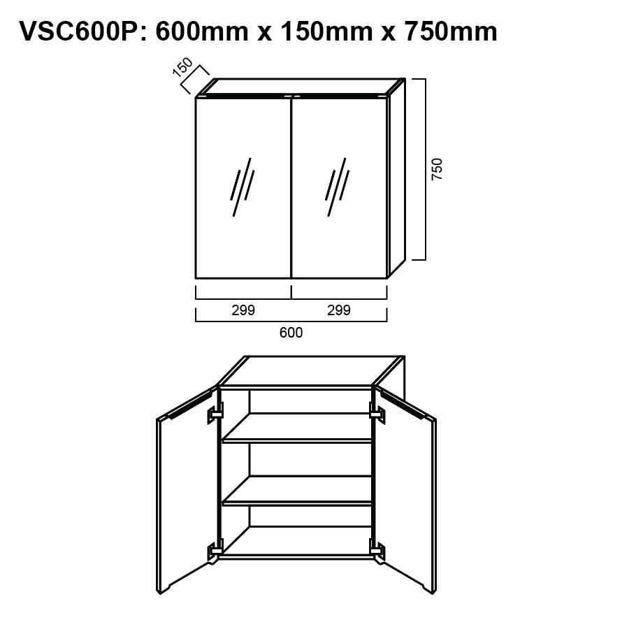 Pencil edge two glass mirror door 600mm shaving cabinet