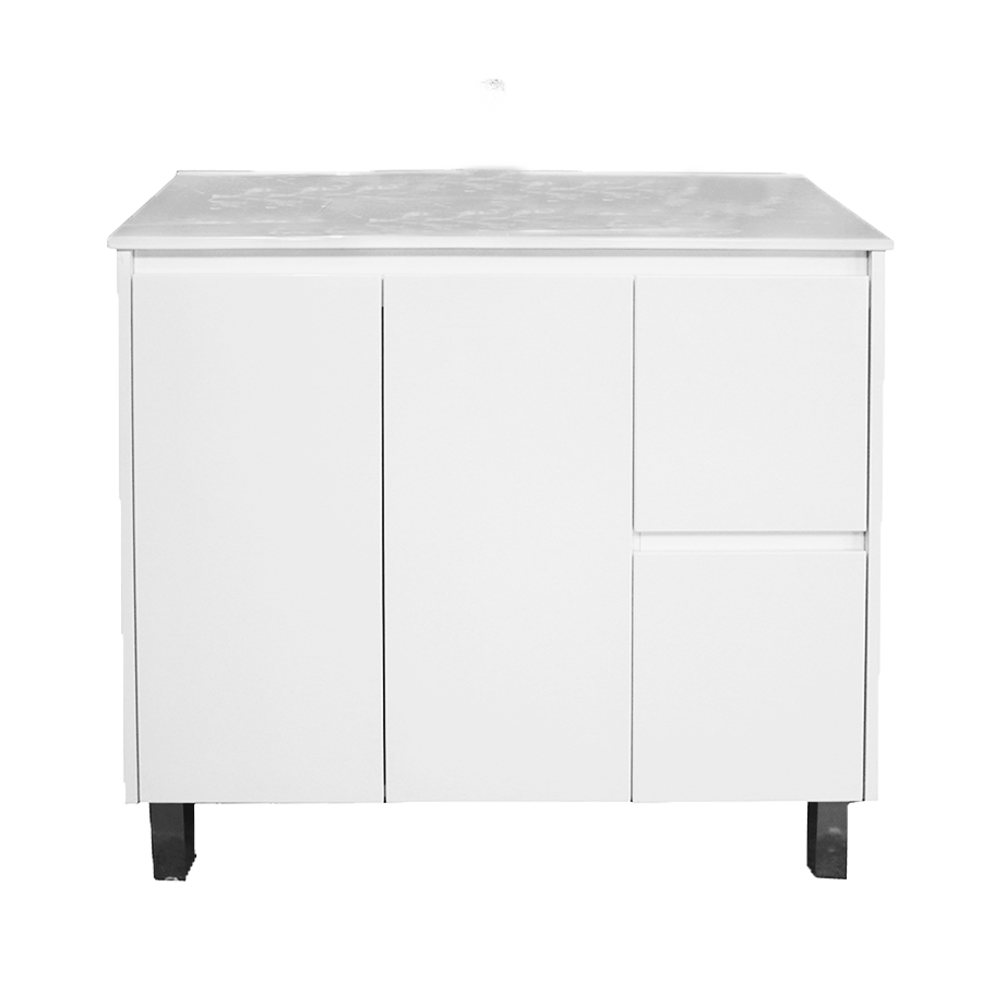 Two door two drawer no handles white 900mm vanity with ceramic top