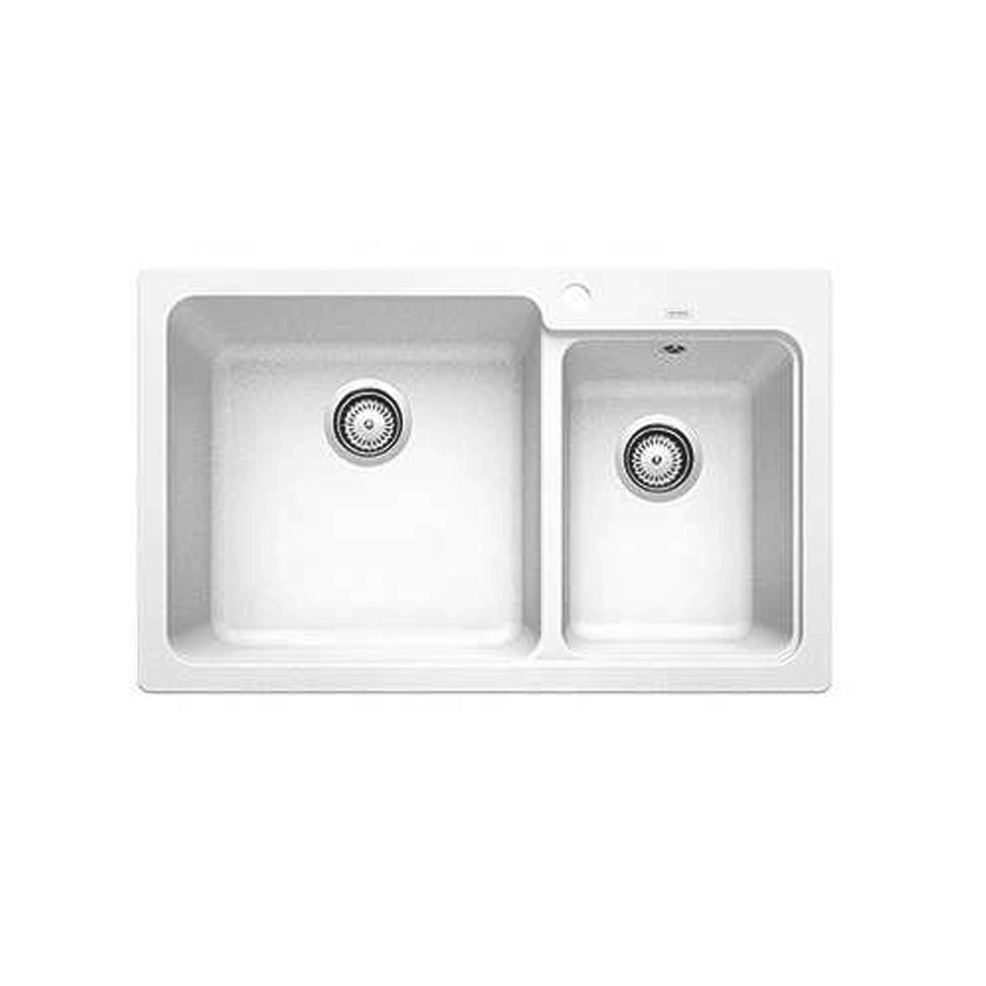White granite one and three quarter bowl sink with no drainer