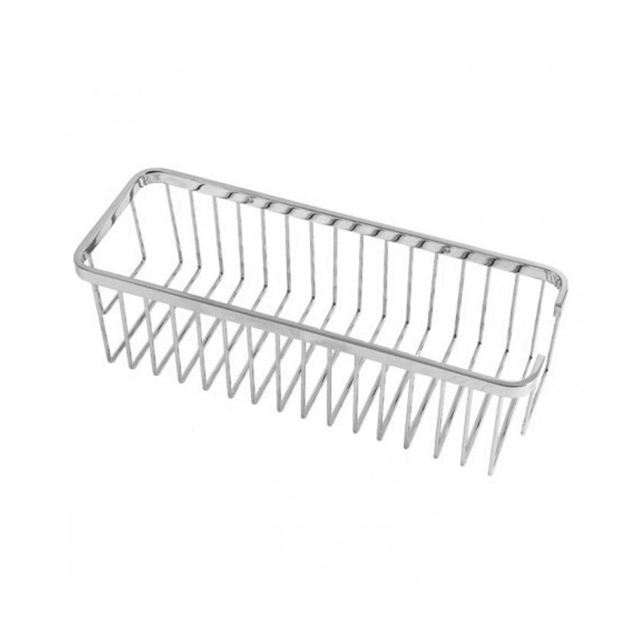 Rectangular wall mounted chrome shower basket holder
