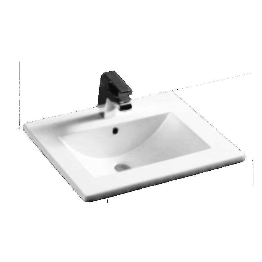Square bowl white ceramic 600mm vanity top
