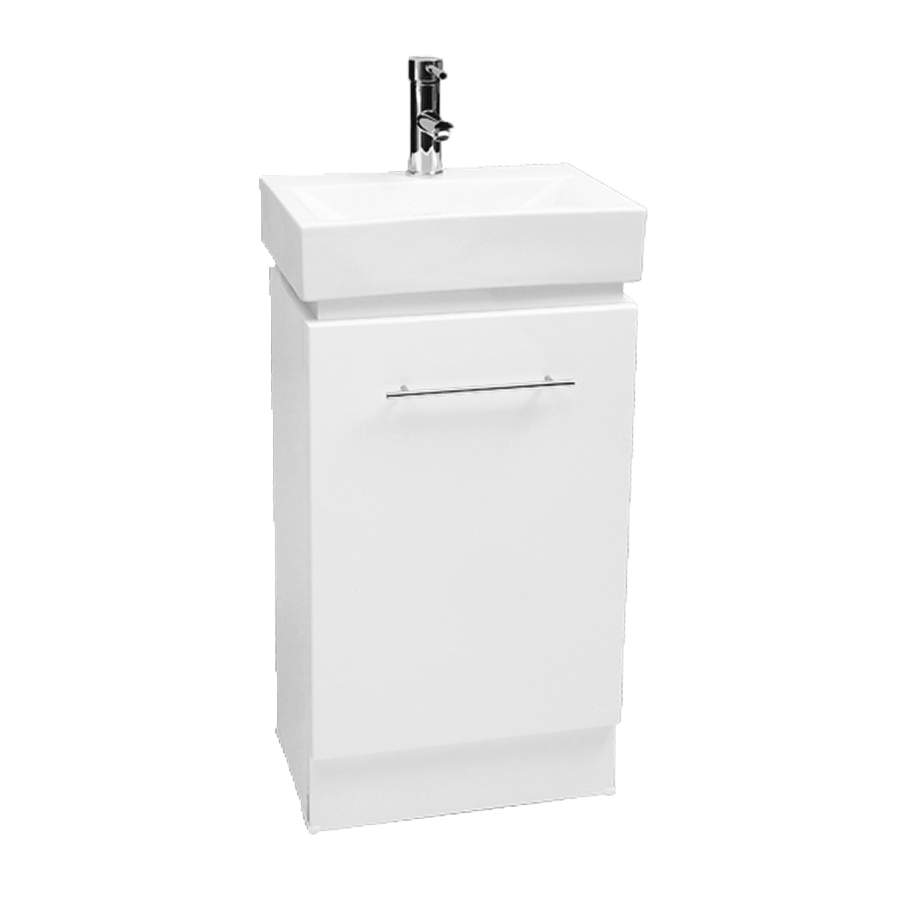 Single door white 450mm vanity with ceramic top
