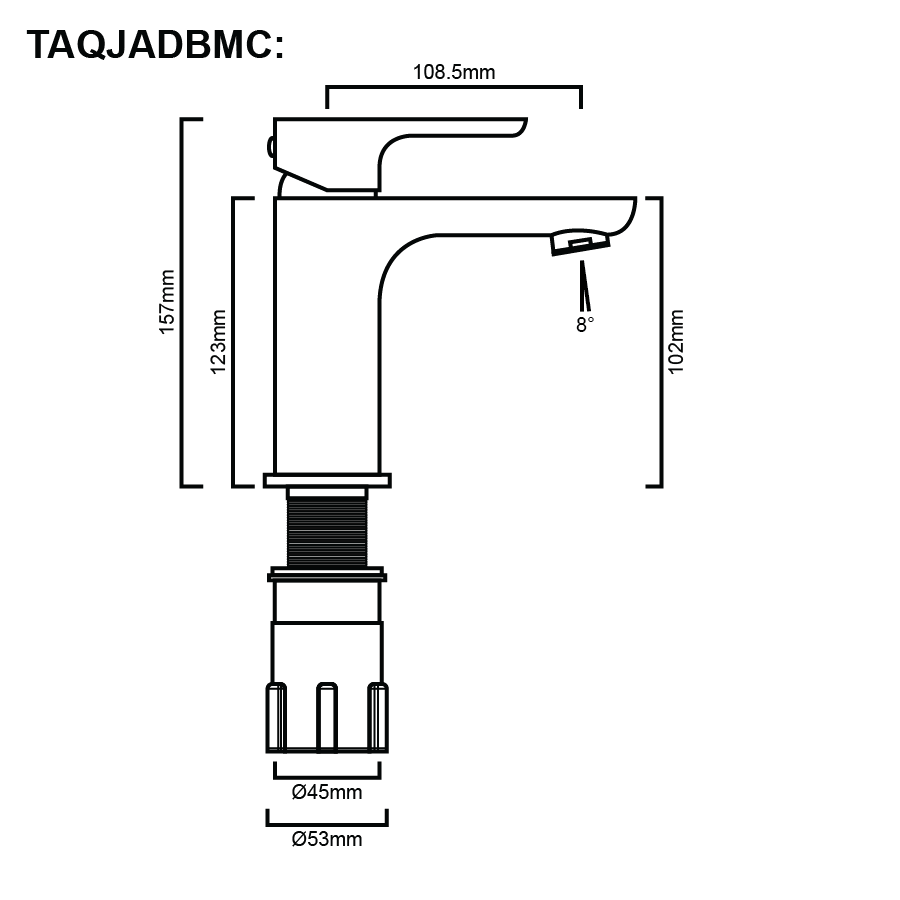 Jade Basin Mixer Line Drawing