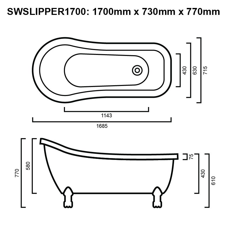 SLIPPER BATH 1700 LINE DRAWING