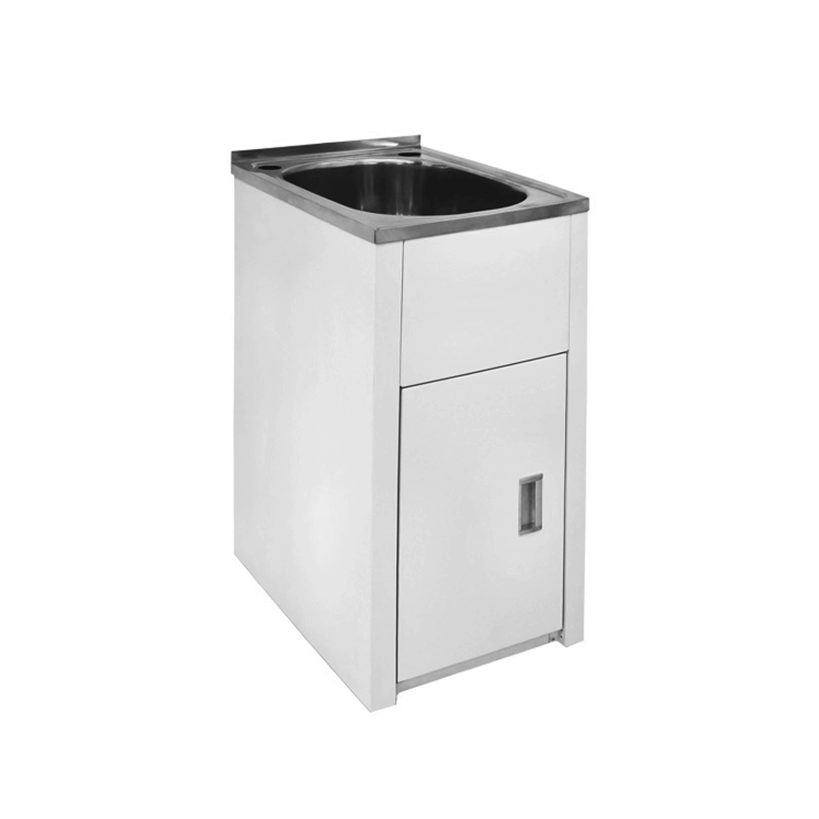 Stainless steel trough with steel small cabinet