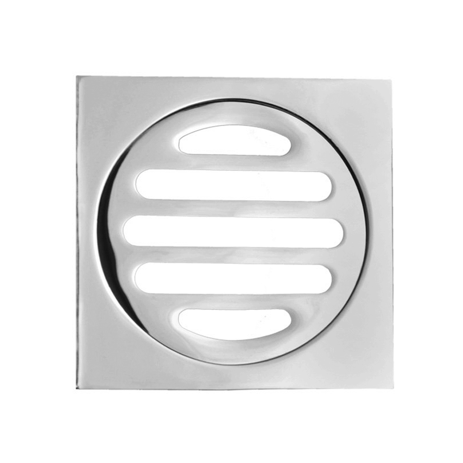 Square chrome 80mm removable floor grate