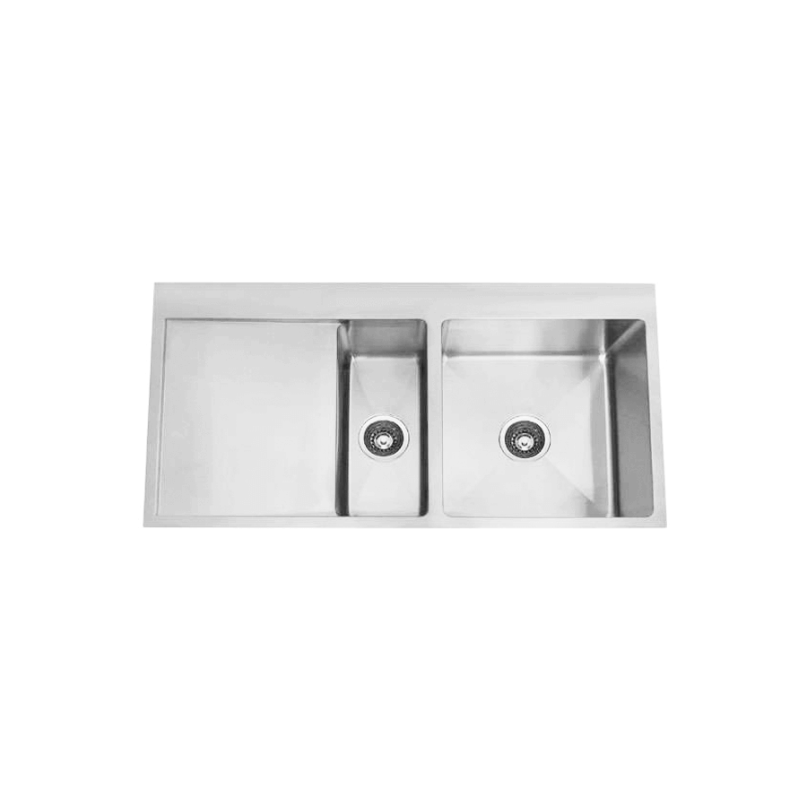 Stainless steel one and a half bowl brushed sink with drainer