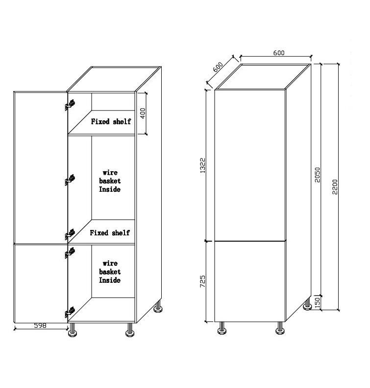 Laundry Cabinet – Double Door 600 With Wire Basket