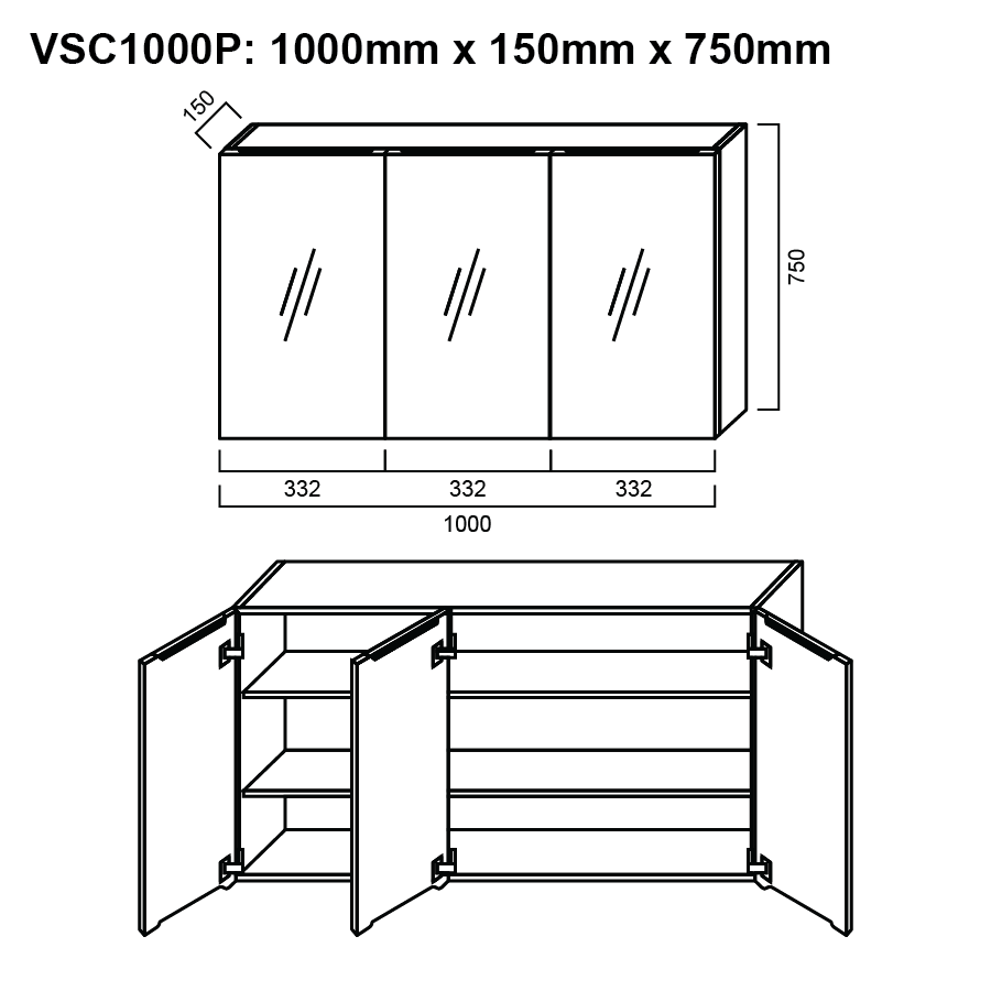 Concept Drawing Kitchen Cabinet: Shaving Cabinet 1000mm